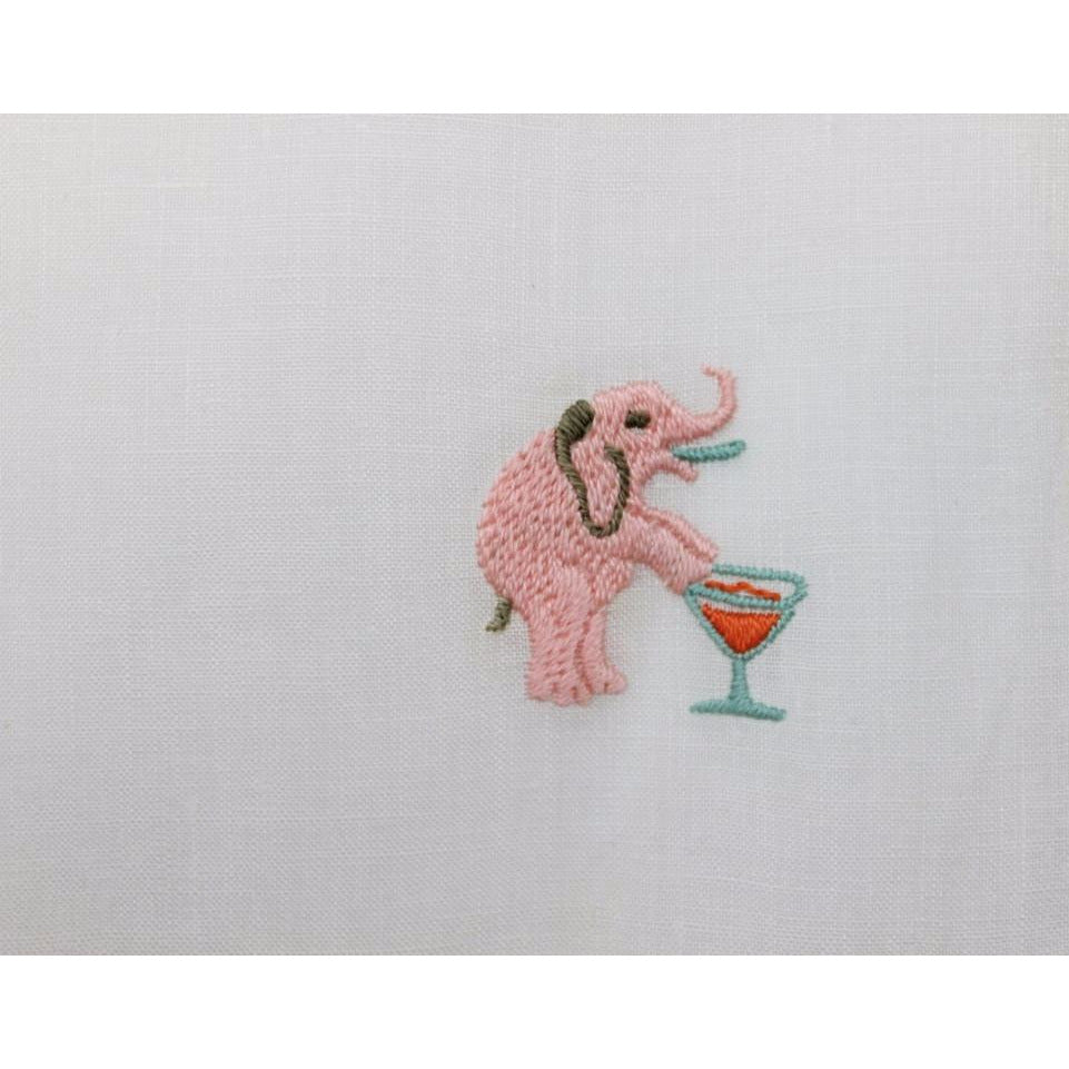 Set of 6 Madeira Linen 'Pink Elephant & Martini Glasses' Cocktail Napkins