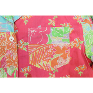 Lilly Pulitzer Patch Panel Shirt Dress with Multicolor Parrots & Flowers Sz. Sm