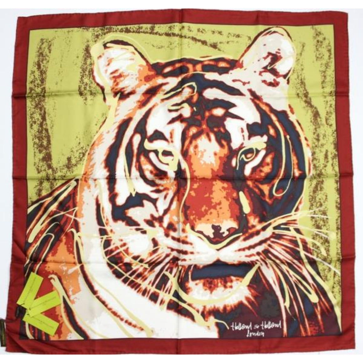 'Holland & Holland 'Tiger' Print Silk Scarf' New w/ Tags!