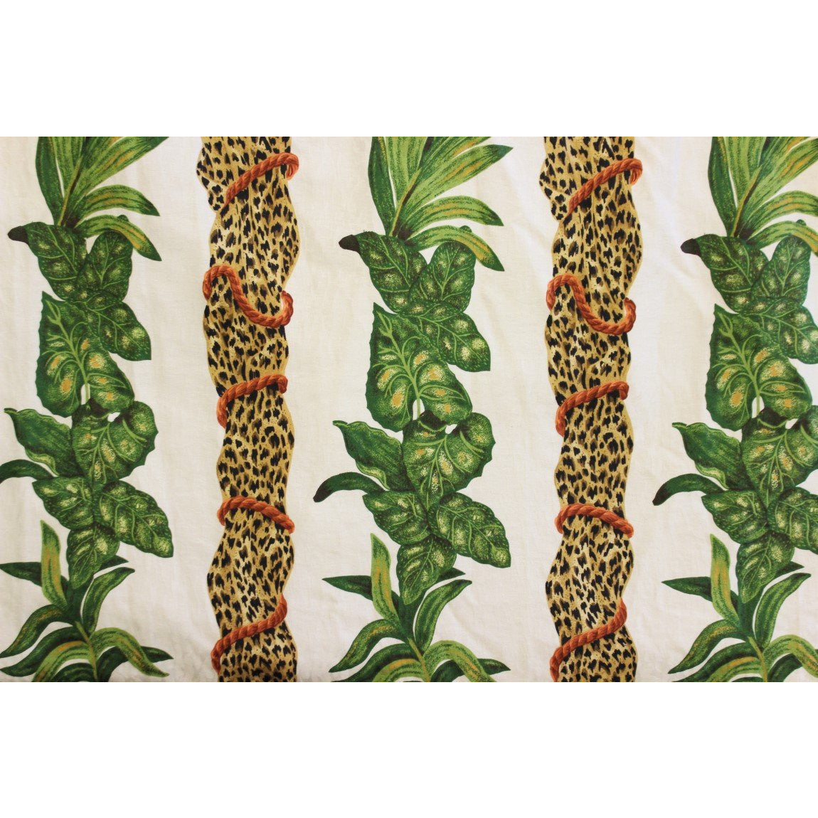 Two Large Curtain Panels w/ Pinch Pleats; Leopard Print & Jungle Leaves Curtain Panels