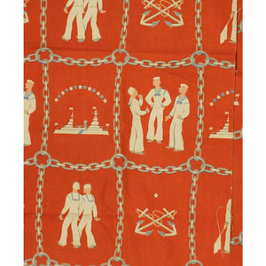 4pc Vintage Orange Sailor & Anchor Print Fabric