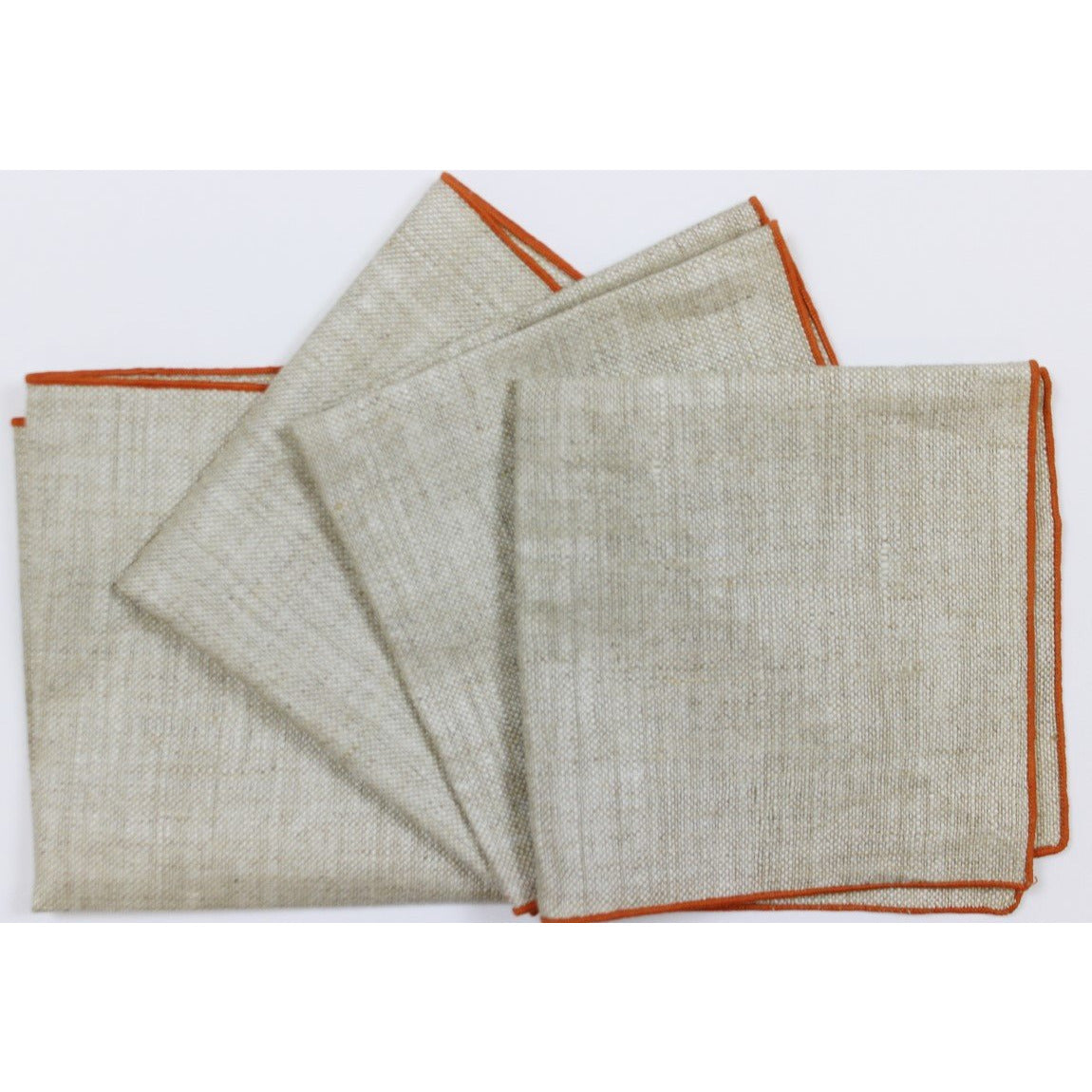 4 Beige Napkins w/ Orange Border