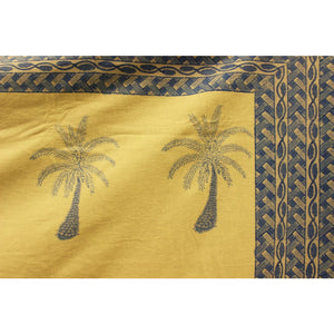 Pair of Pastel Blue & Creme Table Covers w/ Palm Trees