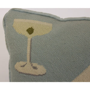 Tiffany Blue Playing Cards & Martini Glass Needlepoint Pillow