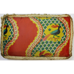 Vintage Multicolor Silk 'Peacock' Pillow