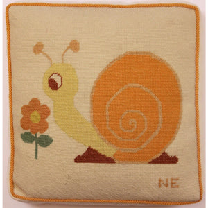 Vintage 'Snail' Needlepoint Pillow