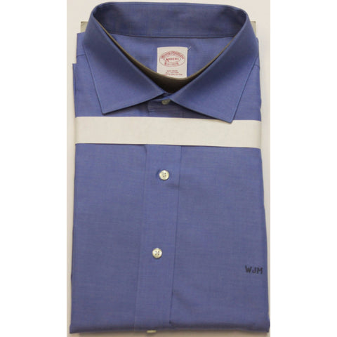 """Brooks Brothers Chambray Blue Button Cutaway Collar Custom 'WJM' Shirt"" Sz: M"
