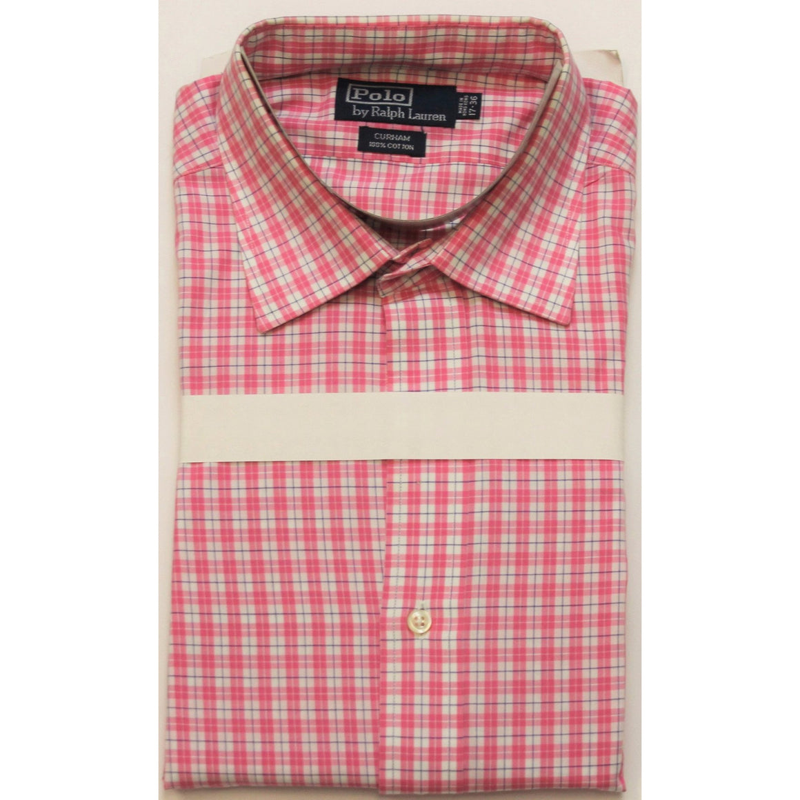 Polo Ralph Lauren Pink/Navy & White Plaid Spread Collar Shirt Sz: 17-36""