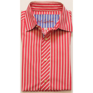 Robert Graham Raspberry & White Stripe Spread Collar Shirt Sz. L