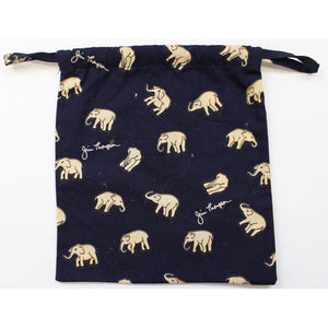 Navy 'Thai Elephant' Draw String Hand Bag