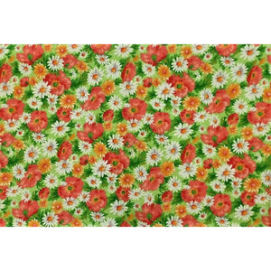 Pink/Orange & Green Floral Print Fabric