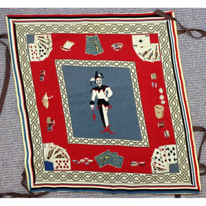 Needlepoint Bridge Table Mat w/ Playing Cards & Jester