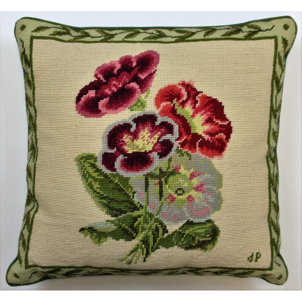 Roses & Leaves Needlepoint Pillow