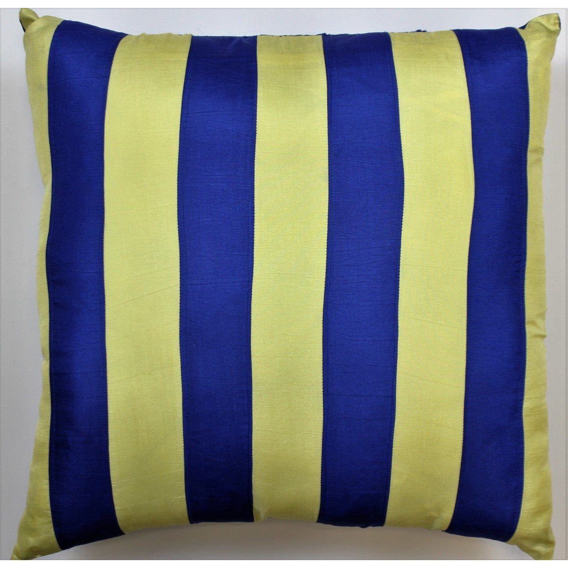 Royal Blue & Yellow Racing Stripe Silk Pillow