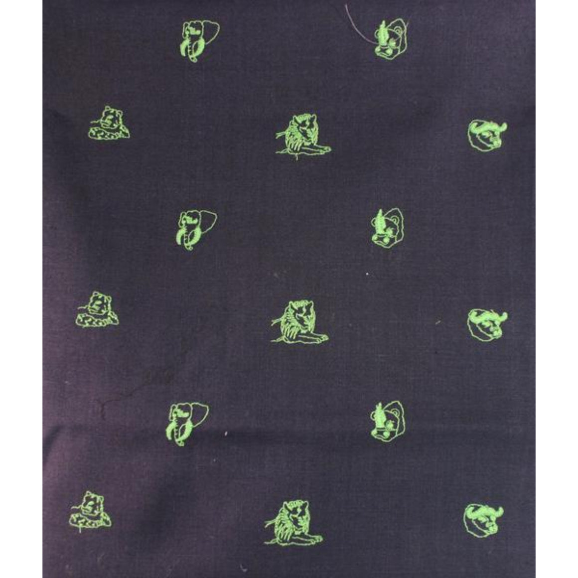 'Chipp Irish Moygashel Linen Fabric w/ Lime 'Big Game' Animal Embroidery'