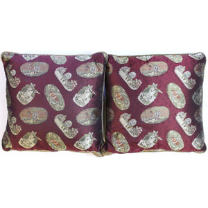 Pair of Paul Stuart 'Nursery Rhyme' Burgundy Silk Pillows