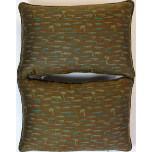 Pair of 'Alligator & Palm Tree' Olive Pillows