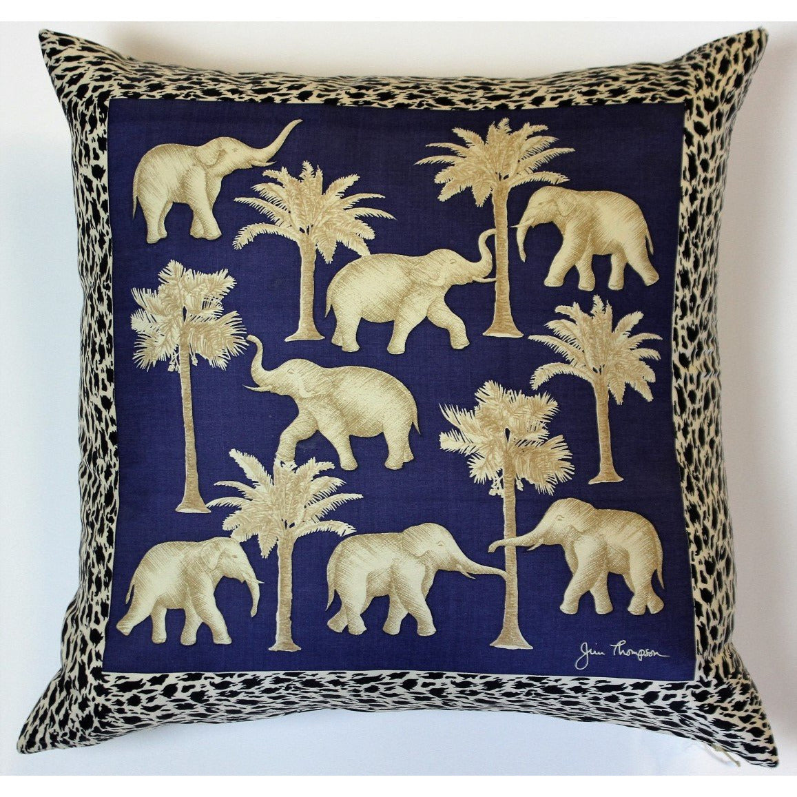 Jim Thompson Thai Elephant Blue Pillow