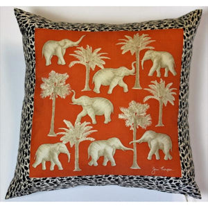 'Jim Thompson Thai Elephants & Palm Trees Orange Silk Pillow'
