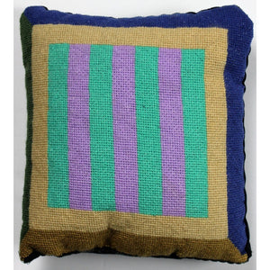 Needlepoint Lavender & Mint Stripe Pillow
