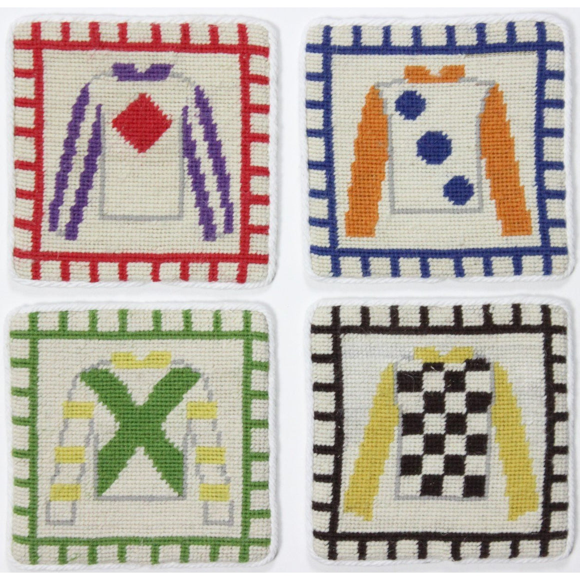 Set of 4 Needlepoint Coasters with Multicolor Jockey Silks