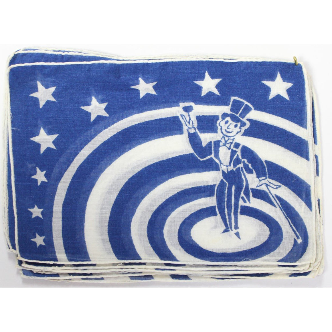 Set of 12 Blue & White 'Carnival Barker' Cocktail Napkins