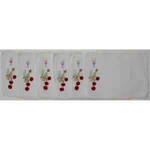 6pc Madeira Linen Cherry Cocktail Napkins