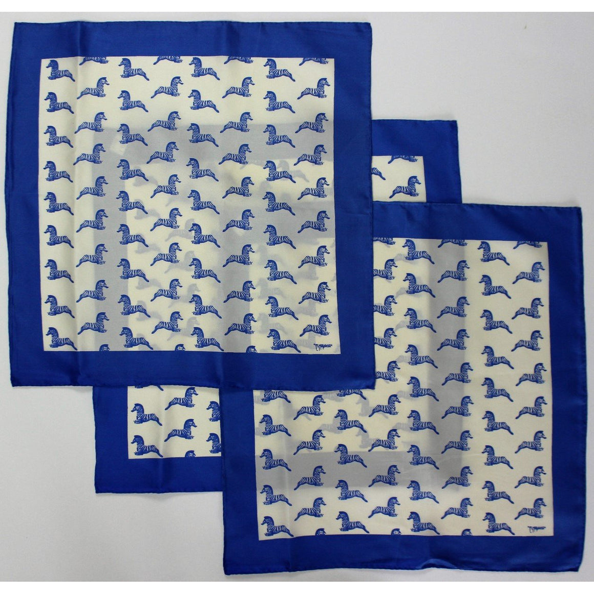 Set of 3 El Morocco Club Blue Zebra Silk Pocket Squares