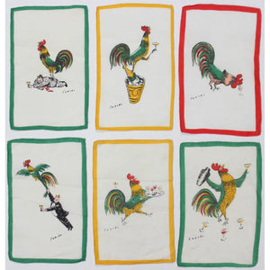 6pc Fabres Tipsy Rooster Cocktail Napkins