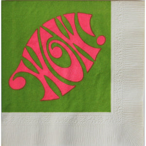 Set of 20 Hot Pink & Green 'Wow!' Cocktail Napkins & Coasters