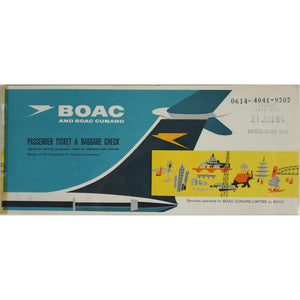 BOAC Cunard Passenger Ticket & Baggage Check