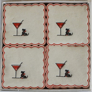 Boxed Set of 75 Martini Glass & Scottie Scallop Edge Coasters