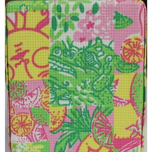 Lilly Pulitzer Tissue Dispenser w/ Pink, Lime & Yellow Patchwork Fabric