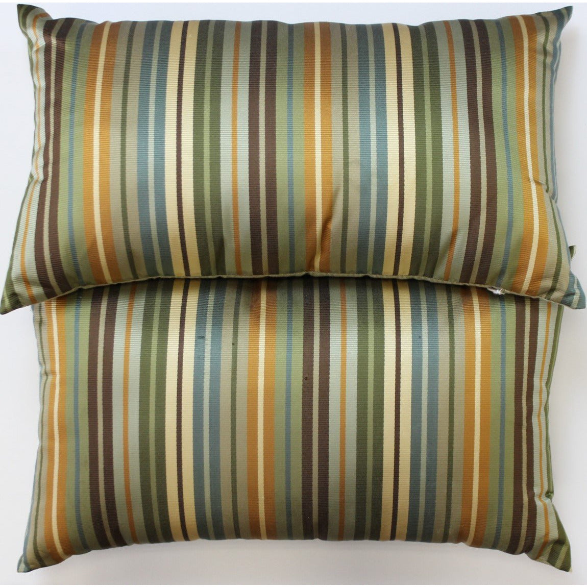 Pair of Silk Olive/Navy Stripe Pillows