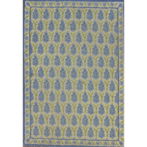 Stark Blue Pine Cone Greek Needlepoint Rug