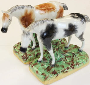 Pair of Staffordshire Gray & Bay Dappled Horses