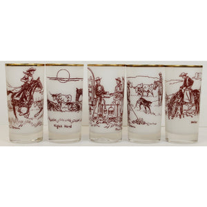 Rare Set of 5 Paul Desmond Brown Cowboy Frosted Highball Glasses
