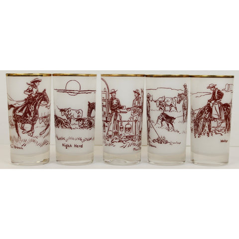 """Rare Set of (5) Paul Desmond Brown 'Cowboy' Frosted Highball Glasses"""