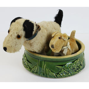 Two Steiff Dogs w/ 1930s Dog Watering Bowl