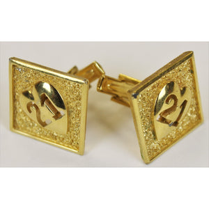 "Pair of ""21"" Club Brass 1970 'Heart' Cufflinks"