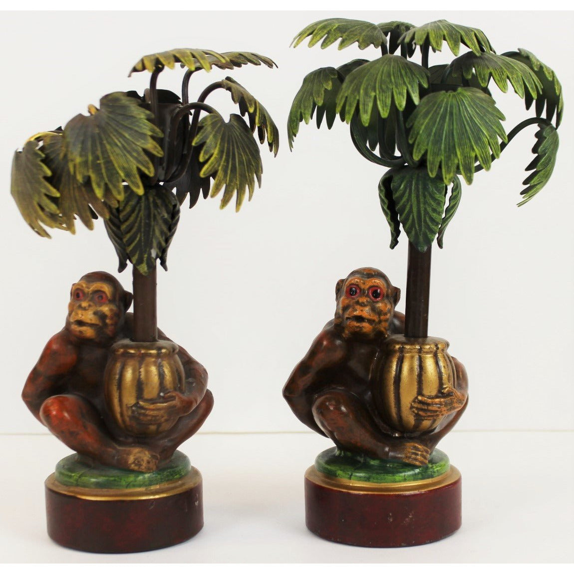 Set of 2 Monkey & Palm Trees Candlestick Holders
