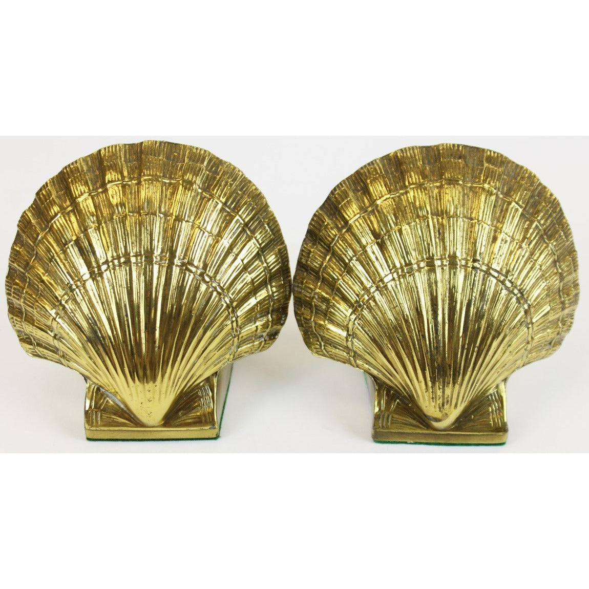 Pair of Brass Scallop Shell Bookends