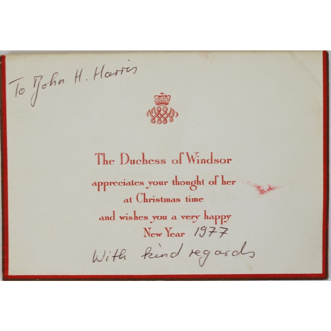 The Duchess of Windsor Wishes you a Merry Christmas and a Happy New Ye