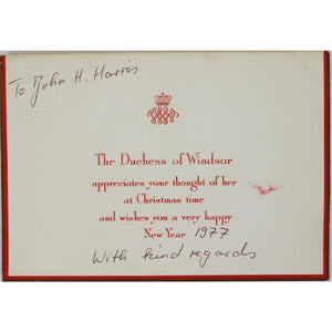 The Duchess of Windsor Wishes you a Merry Christmas and a Happy New Year Christmas Card