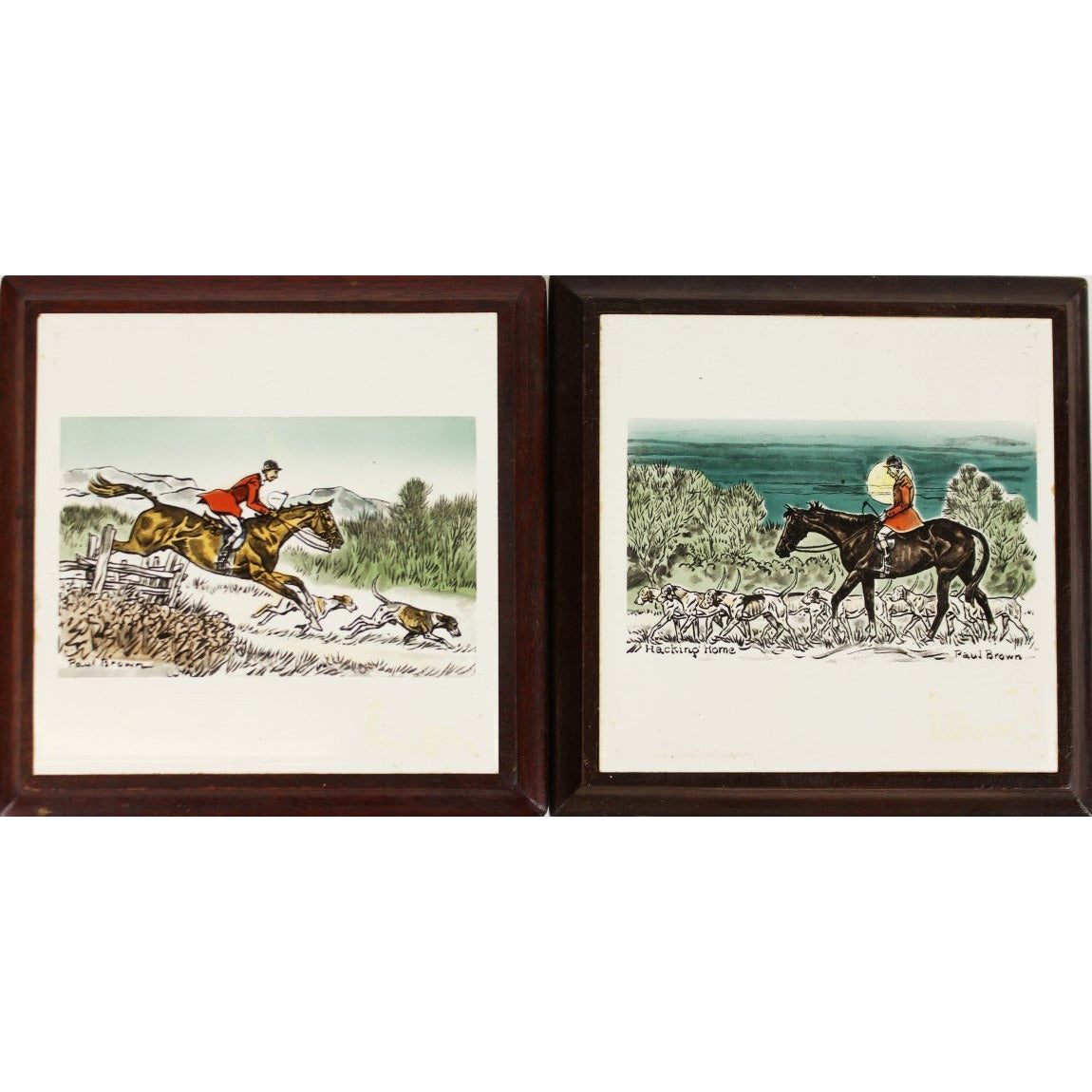 Pair of Paul Desmond Brown 'Hacking Home' Foxhunt Trays