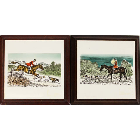 """Pair of Paul Desmond Brown 'Hacking Home' Foxhunt Trays"""