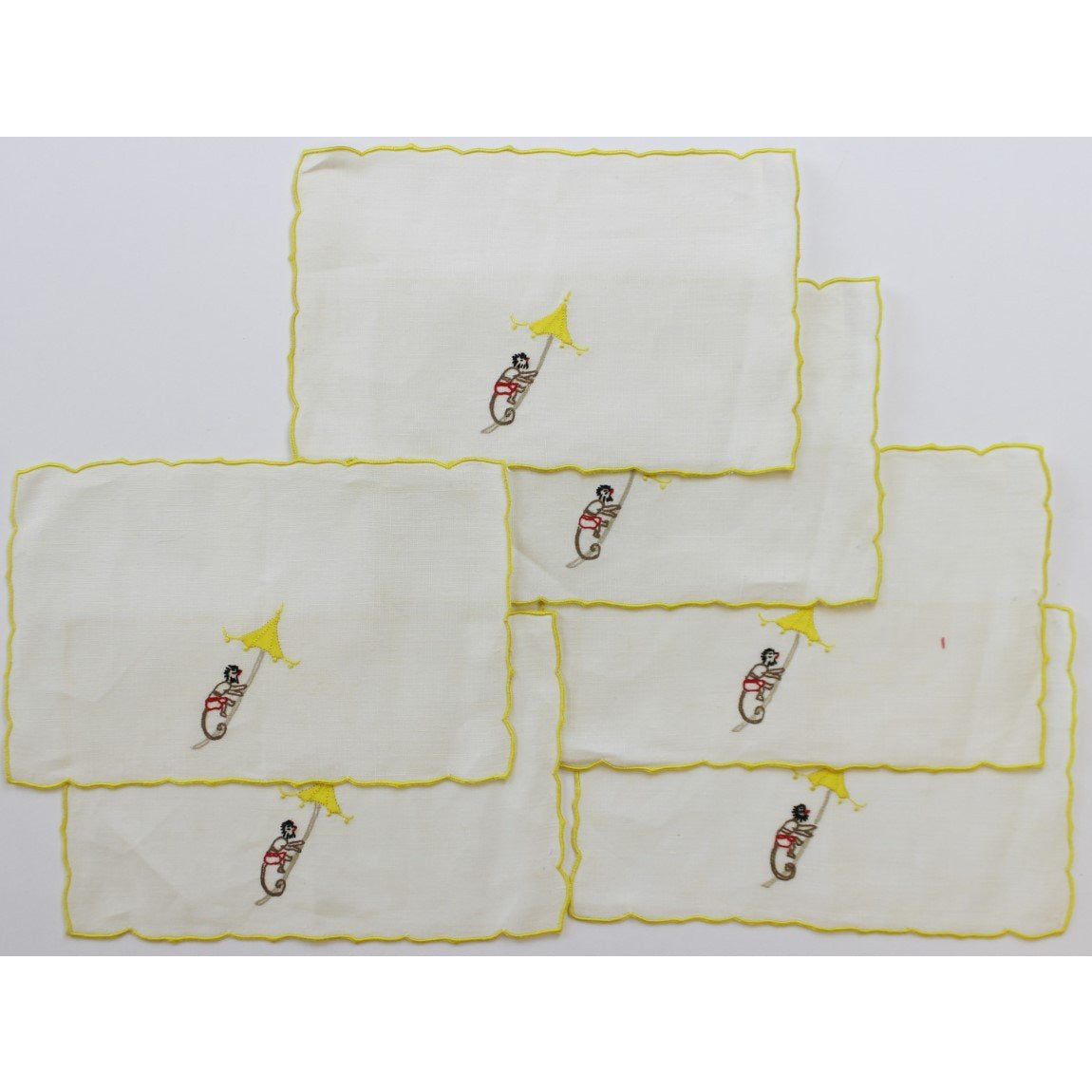 Set of 6 Madeira Linen Chinoiserie Cocktail Napkins Set
