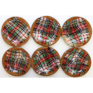 Set of 6 Tartan Plaid Wooden Plates