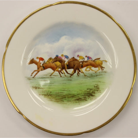 Pair of English 'Racehorse' Dinner Plates