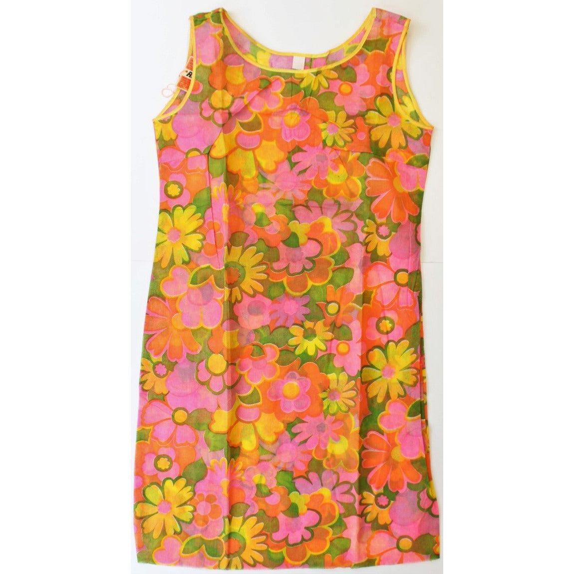 Hot Pink/Orange & Yellow Floral Poly Tissue Sundress Sz. Sm